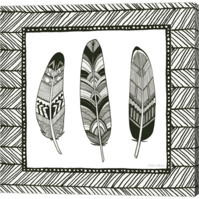 Geo Feathers Square II Gallery Wrapped Canvas Wall Art On Deep Stretch Bars