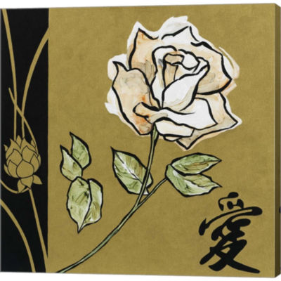 Asian Rose Gallery Wrapped Canvas Wall Art On Deep Stretch Bars