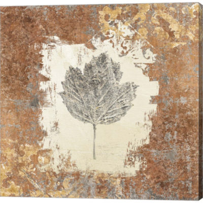 Gilded Leaf V Gallery Wrapped Canvas Wall Art On Deep Stretch Bars