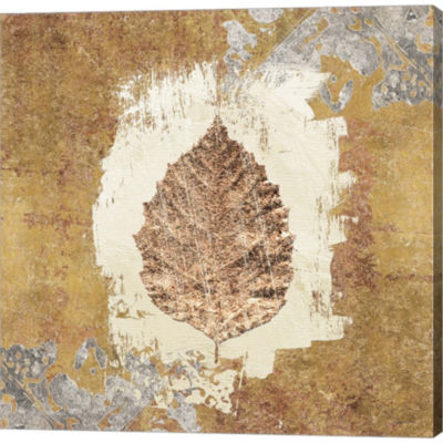 Gilded Leaf VI Gallery Wrapped Canvas Wall Art On Deep Stretch Bars