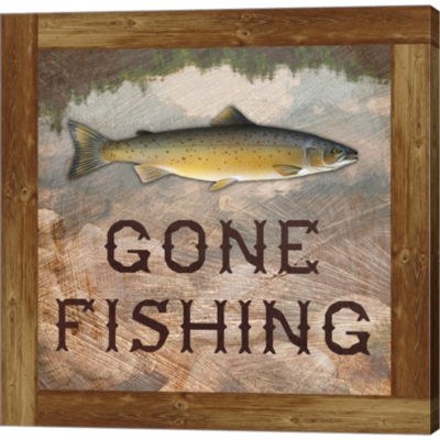 Gone Fishing Salmon Sign Gallery Wrapped Canvas Wall Art On Deep Stretch Bars