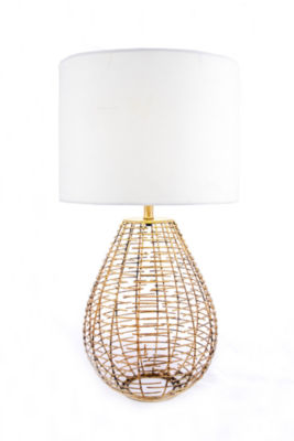 """Watch Hill 27"""" Brass Woven Cage Table Lamp"""