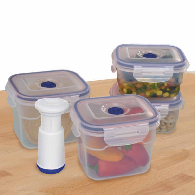 Lasting Freshness 9 Piece Vacuum Food Storage Containers, Rectangular