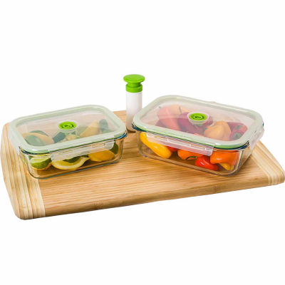 Charming Lasting Freshness 5 Piece Glass Vacuum Food Storage Containers, Rectangular
