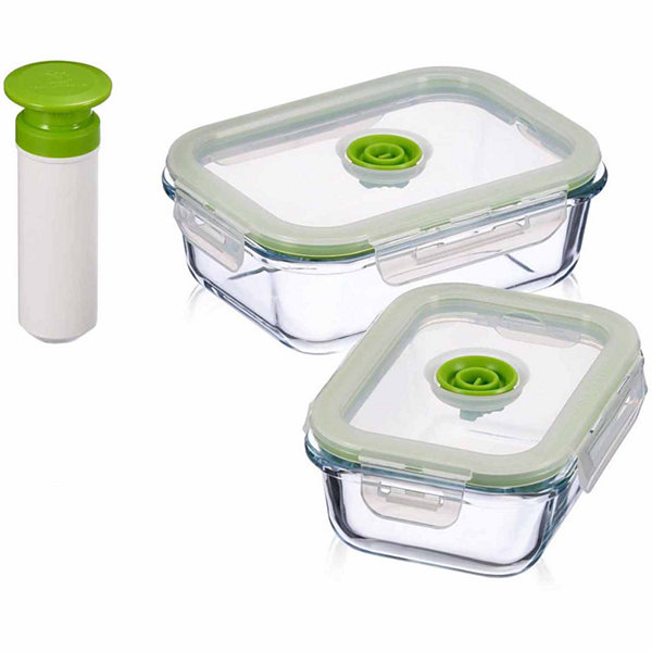 Lasting Freshness 5 Piece Glass Vacuum Food Storage Containers, Rectangular