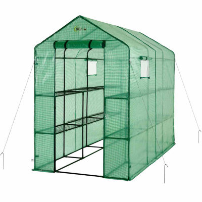 Ogrow Extra Large Heavy Duty Walk-In 2 Tier 12 Shelf Portable Lawn And Garden Greenhouse