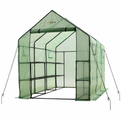 Ogrow Very Spacious And Sturdy Walk-In 2 Tier 12 Shelf Portable Garden Greenhouse With Windows
