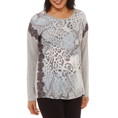 Lark Lane Silver Screen 3/4 Sleeve Jewel Neck T-Shirt-Womens