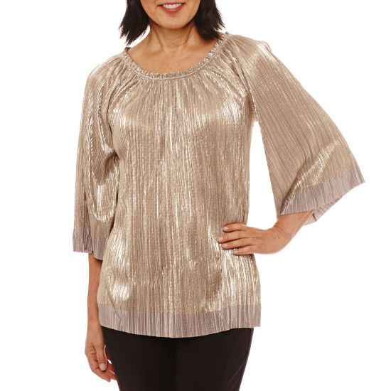 Lark Lane Holiday Rose Crystal Pleat Blouse