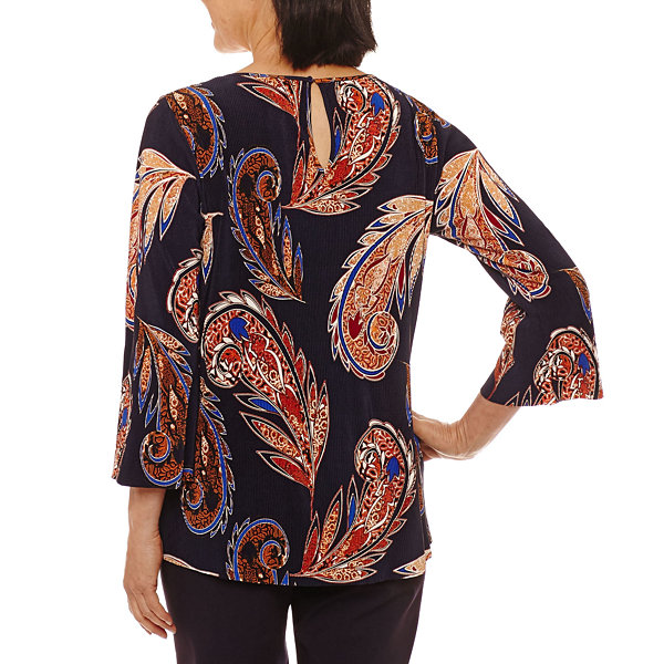 Lark Lane Fall Festival 3/4 Sleeve Knit Blouse