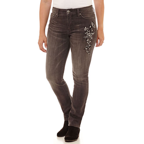 St. John's Bay Secretly Slender Embroidered Straight Jean Straight Fit Straight Leg Jeans