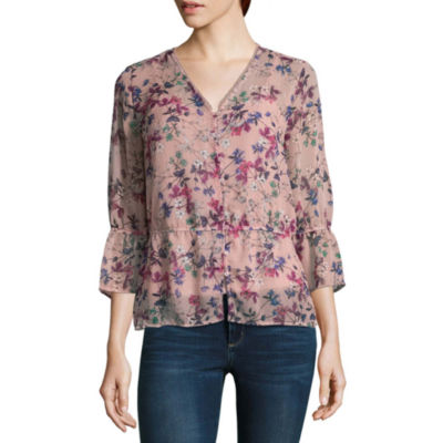 Liz Claiborne 3/4 Sleeve V Neck Woven Floral Blouse