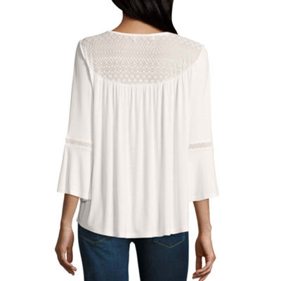Liz Claiborne 3/4 Sleeve V Neck T-Shirt-Womens
