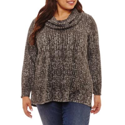 Alyx Long Sleeve Cowl Neck Knit Blouse-Plus