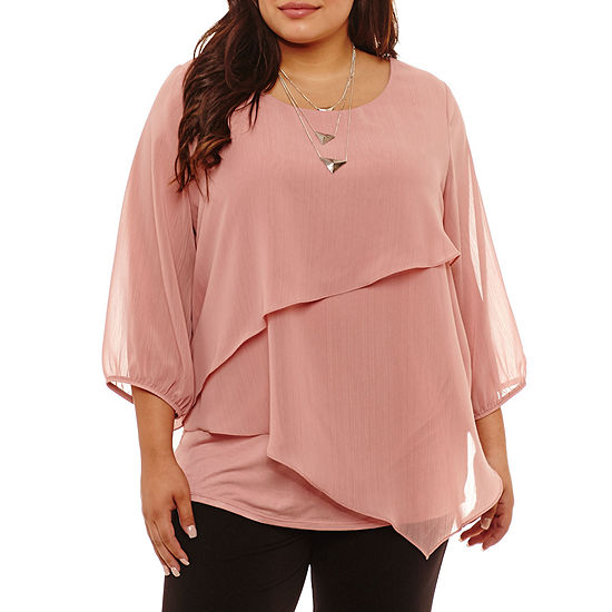 Alyx-Plus Womens Round Neck 3/4 Sleeve Lined Blouse