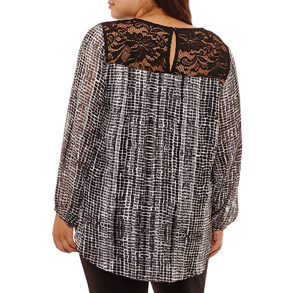 Alyx Long Sleeve Round Neck Charmeuse Lace Blouse-Plus