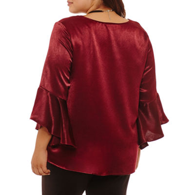 Alyx 3/4 Sleeve V Neck Charmeuse Ruffled Blouse - Plus