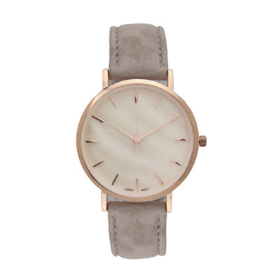 Geneva Platinum Womens Brown Strap Watch-10133