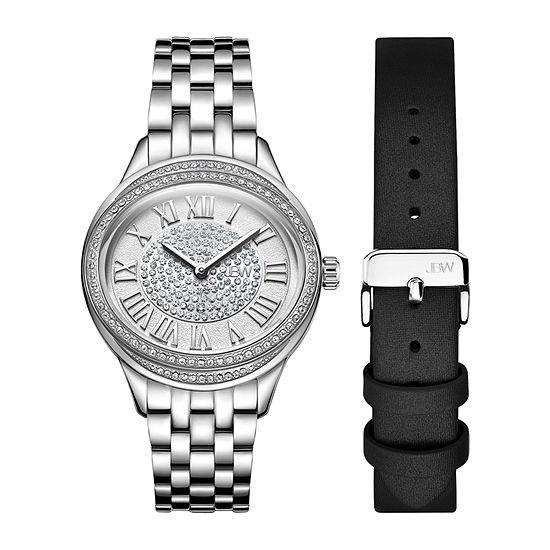 JBW Plaza Oval Womens Diamond Accent Silver Tone Stainless Steel Bracelet Watch-J6366-Seta