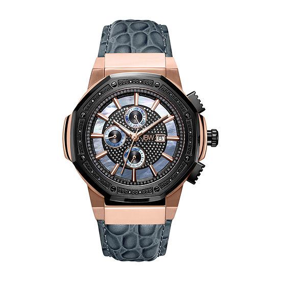 JBW 10 Yr Anniversary Saxon 1/6 C.T. T.W. Genuine Diamond Mens Multi-Function Diamond Accent Gray Stainless Steel Strap Watch-Jb-6101l-10c