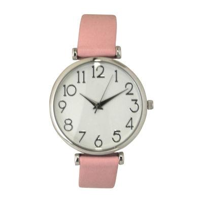 Olivia Pratt Womens Pink Strap Watch-B80000ltpink