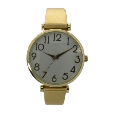 Olivia Pratt Womens Gold Tone Strap Watch-B80000gold