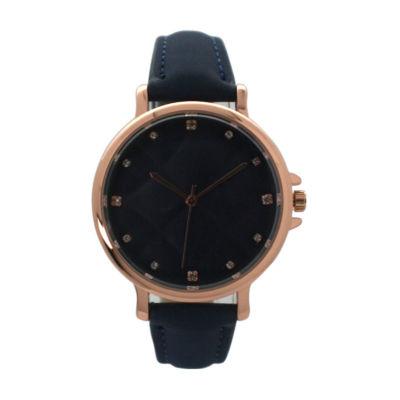 Olivia Pratt Womens Blue Strap Watch-D60034navy
