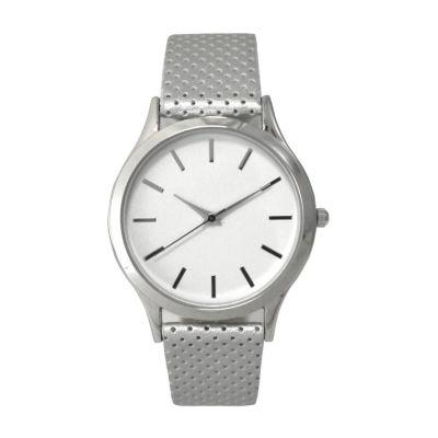 Olivia Pratt Womens Silver Tone Strap Watch-A916346silver