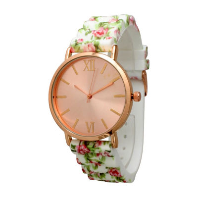 Olivia Pratt Womens White Strap Watch-513976whitehotpink