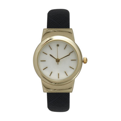Olivia Pratt Womens Black Strap Watch-26861blackgold