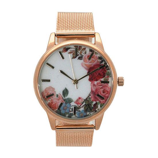 Olivia Pratt Womens Rose Goldtone Bracelet Watch-A917645rosegold