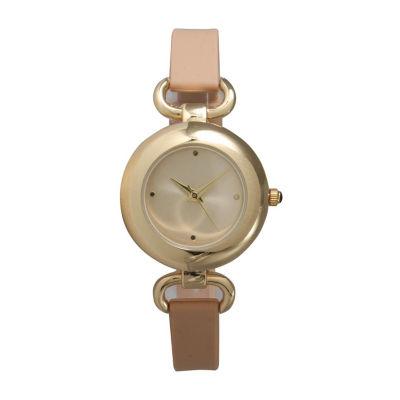 Olivia Pratt Womens Brown Strap Watch-40055beige