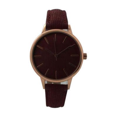 Olivia Pratt Womens Red Strap Watch-D60037burgundy