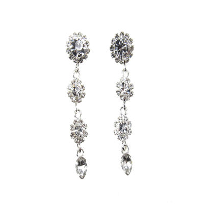 Vieste Rosa Clear Brass Drop Earrings