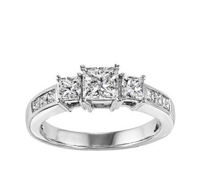 Womens 1/2 CT. T.W. Genuine White Diamond 14K White Gold 3-Stone Ring