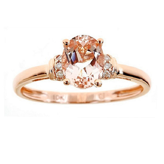LIMITED QUANTITIES! Womens Diamond Accent Genuine Pink Morganite 10K Rose Gold Cocktail Ring
