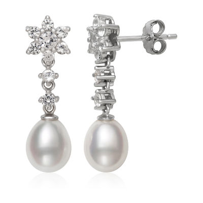 Genuine White Cultured Freshwater Pearl Sterling Silver Drop Earrings