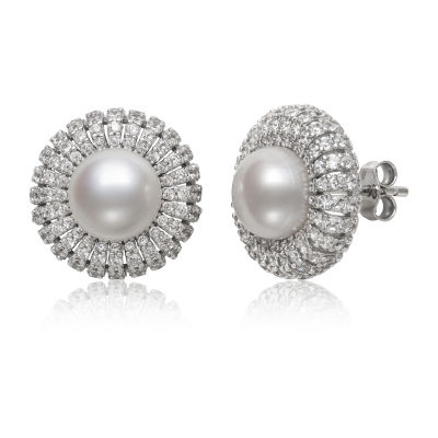 Genuine White Cultured Freshwater Pearl Sterling Silver 15mm Stud Earrings