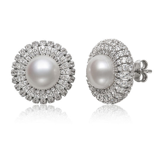 ebc457297 Round White Pearl Sterling Silver Stud Earrings JCPenney
