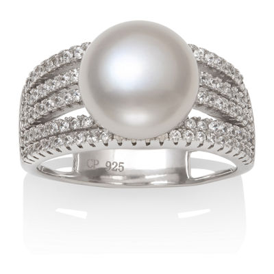 Womens Genuine White Cultured Freshwater Pearl Sterling Silver Cocktail Ring