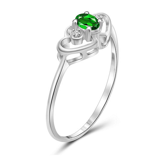 Womens Diamond Accent Genuine Green Chrome Diopside Sterling Silver Heart Delicate Cocktail Ring
