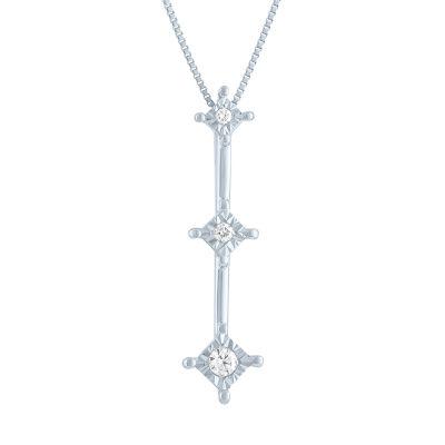 Womens Genuine White Diamond Accent 10K White Gold Pendant Necklace
