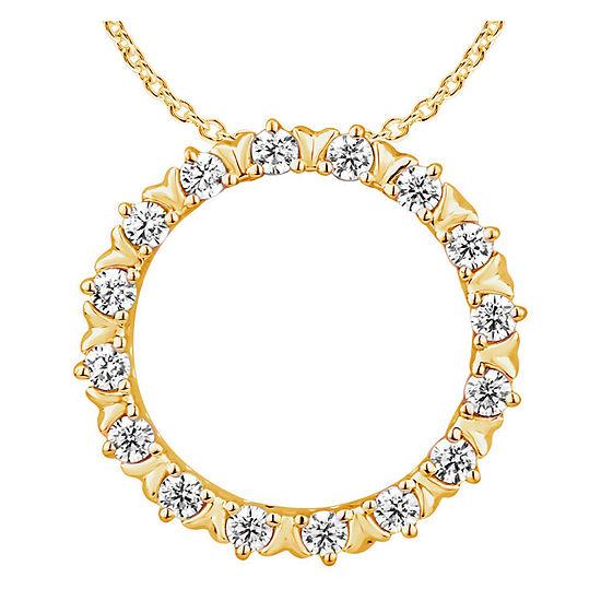 Womens 1/4 CT. T.W. Genuine Diamond 10K Gold Pendant