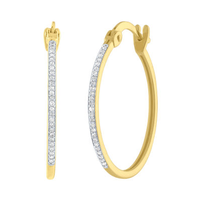 1/10 CT. T.W. Genuine White Diamond 10K Gold 38mm Round Hoop Earrings