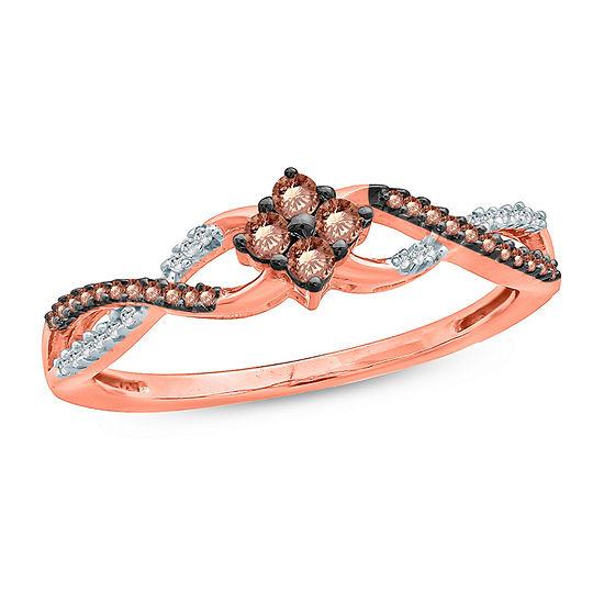 Womens 1/5 CT. T.W. Genuine Multi Color Diamond 10K Gold Promise Ring