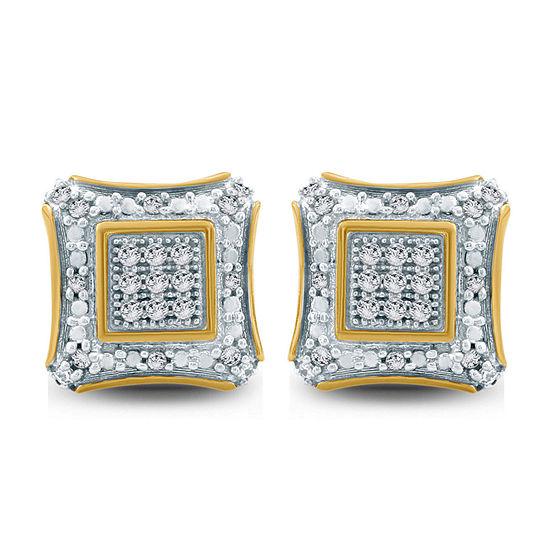 1/6 CT. T.W. Genuine White Diamond 10K Gold 8.1mm Stud Earrings