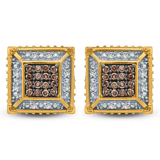 1/4 CT. T.W. Genuine Multi Color Diamond 10K Gold 3.5mm Stud Earrings