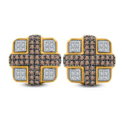 1/3 CT. T.W. Multi Color Diamond 10K Gold 11.4mm Stud Earrings