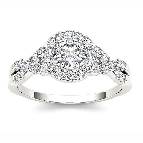 14K White Gold 1 CT Round White Diamond Ring