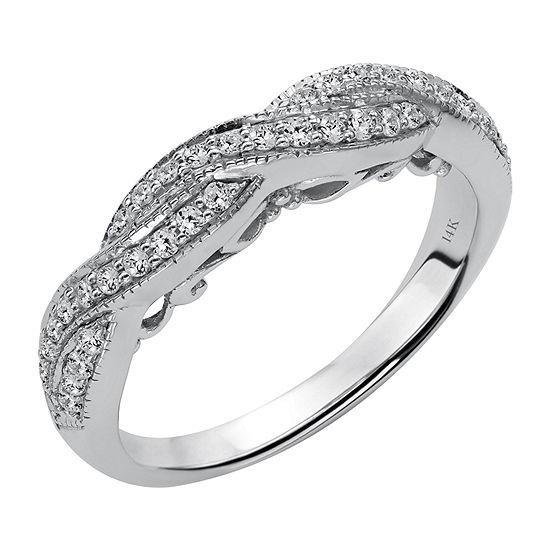 Womens 2mm 1/3 CT. T.W. Genuine White Diamond 14K White Gold Anniversary Band